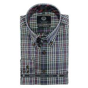 Charcoal and Multi Mini Herringbone Check Cotton Wrinkle-Free Button-Down Shirt by Viyella
