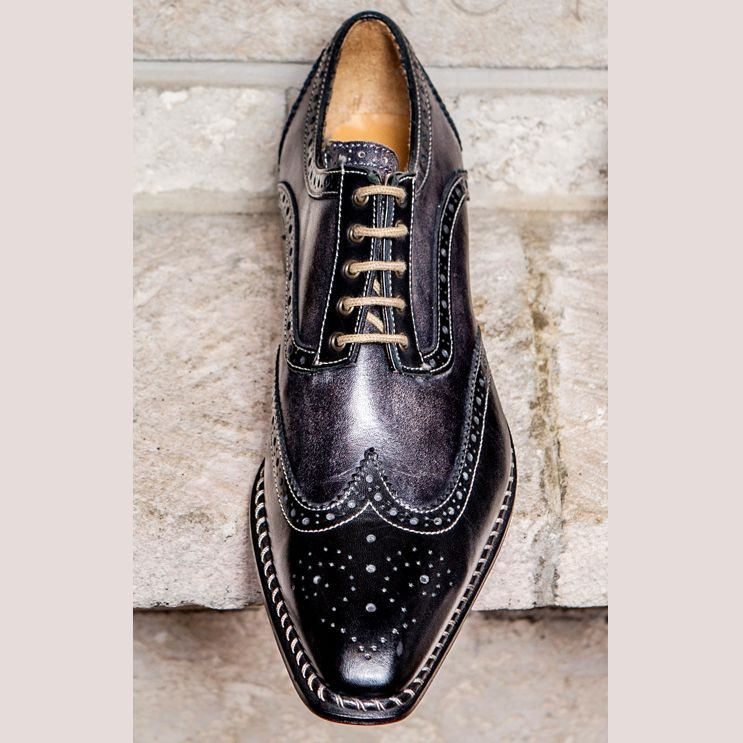 Veloce Wingtip Derby in Black and Anthracite by Jose Real