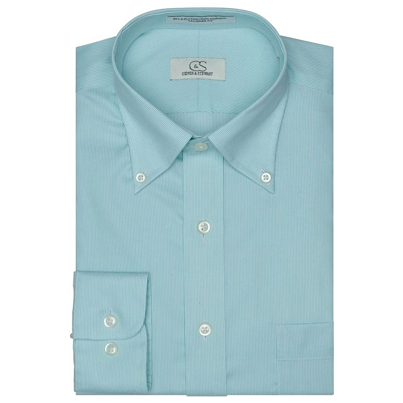 The Denison - Wrinkle-Free Fine Line Stripe Cotton Dress Shirt with Button-Down Collar in Mint by Cooper & Stewart