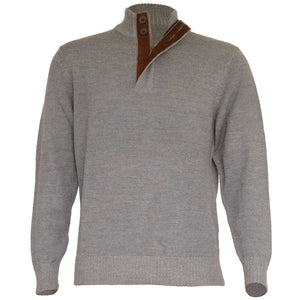 Royal Alpaca Half-Zip Button-Mock Medium Weight Sweater in Sky Grey and Silver Grey Heather by Peru Unlimited