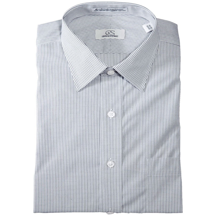 The Dover - Wrinkle-Free Graph Check Cotton Dress Shirt in Black by Cooper & Stewart