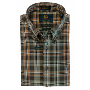 Moss and Tan Plaid Cotton and Wool Blend Button-Down Shirt by Viyella