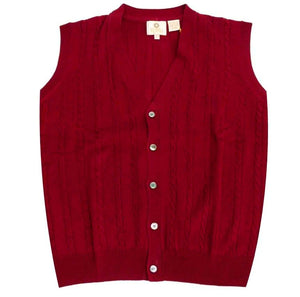 Extra Fine 'Zegna Baruffa' Merino Wool Button-Front Cable Knit Sleeveless Sweater Vest in Admiral Red by Viyella
