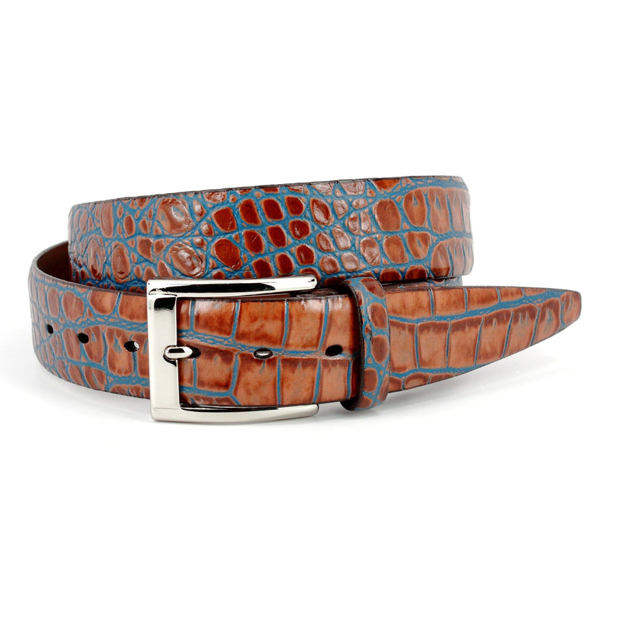 Bi-Color Crocodile Embossed Calfskin Belt in Tan and Blue by Torino Leather