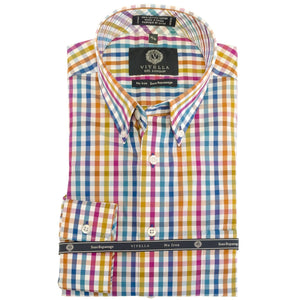Bright Orange Multi Check Cotton Wrinkle-Free Button-Down Shirt by Viyella