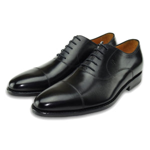 Macon Plain Cap Toe Oxford Shoe in Charcoal Black by Armin Oehler