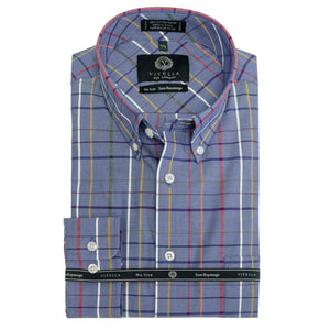 Blue and Multi Plaid Cotton Wrinkle-Free Button-Down Shirt by Viyella