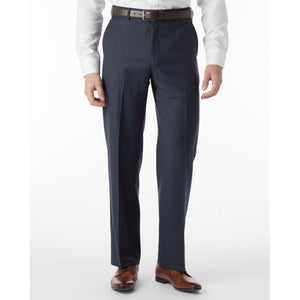 Super 120s Wool Serge Comfort-EZE Trouser in Navy Mix (Flat Front Models) by Ballin