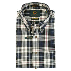 Blue, Grey, and Cream Plaid Cotton and Wool Blend Button-Down Shirt by Viyella