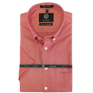 Wrinkle-Free Oxford Short Sleeve Sport Shirt in Red by Viyella