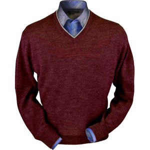 Royal Alpaca V-Neck Sweater in Wine Heather by Peru Unlimited