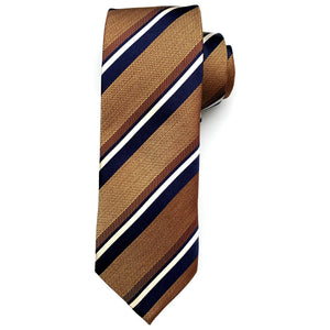 Copper, Navy, and White Multi-Textured Stripe Woven Silk Tie by Bruno Marchesi