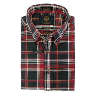 Black, Red, and White Plaid Cotton and Wool Blend Button-Down Shirt by Viyella