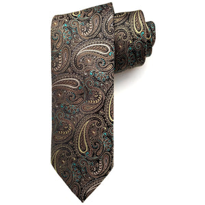 Brown, Black, Aqua, and Sage Paisley Woven Silk Tie by Bruno Marchesi