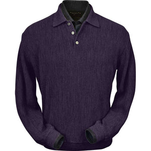 Baby Alpaca 'Links Stitch' Polo Style Sweater in Plum Heather by Peru Unlimited