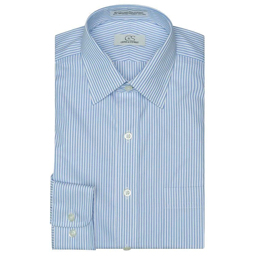 The Franklin Blue - Wrinkle-Free Satin Stripe Cotton Dress Shirt by Cooper & Stewart