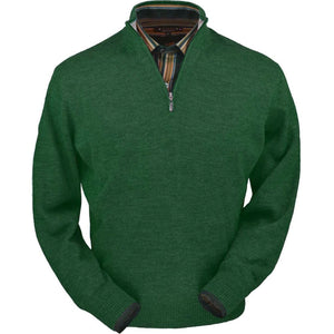 Royal Alpaca Half-Zip Mock Neck Sweater in Green Leaf Heather by Peru Unlimited