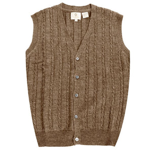 Extra Fine 'Zegna Baruffa' Merino Wool Button-Front Cable Knit Sleeveless Sweater Vest in Mushroom by Viyella