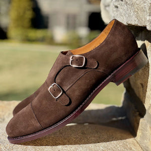 Charleston Double Monk Strap Shoe in Brown Suede by Armin Oehler