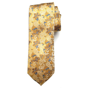 Gold and Blue Botanical Woven Silk Tie by Bruno Marchesi