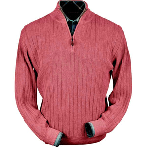 Baby Alpaca 'Links Stitch' Half-Zip Mock Neck Sweater in Red Coral Heather by Peru Unlimited