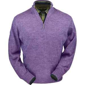 Royal Alpaca Half-Zip Mock Neck Sweater in Lilac Heather by Peru Unlimited