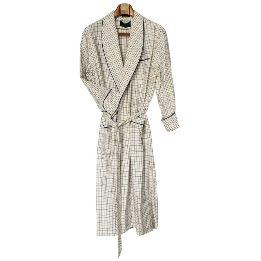 Gentleman's Cotton and Wool Blend Robe in Blue and Brown Tattersall by Viyella