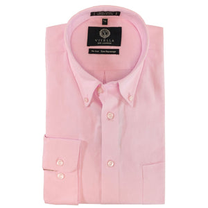 Solid Pink Cotton Oxford Wrinkle-Free Button-Down Sport Shirt by Viyella