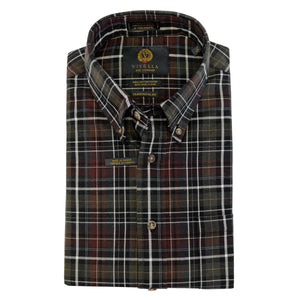 Olive, Rust, and Black Plaid Cotton and Wool Blend Button-Down Shirt by Viyella