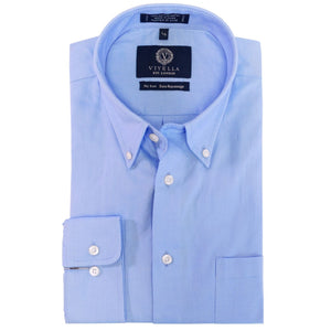 Solid Blue Cotton Oxford Wrinkle-Free Button-Down Sport Shirt by Viyella