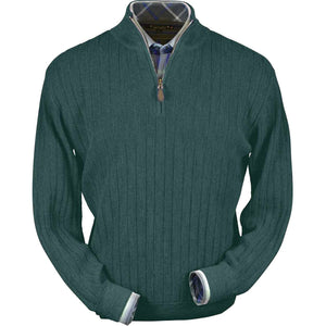 Baby Alpaca 'Links Stitch' Half-Zip Mock Neck Sweater in Bluegrass Heather by Peru Unlimited
