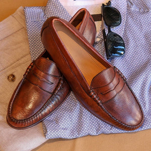 Ventura Deerskin Penny Loafer in Chestnut by T.B. Phelps