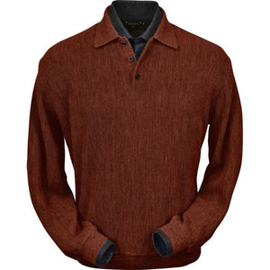 Baby Alpaca 'Links Stitch' Polo Style Sweater in Rust Heather by Peru Unlimited