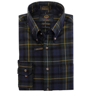 Navy, Gold, and Hunter Plaid Cotton and Wool Blend Button-Down Shirt by Viyella