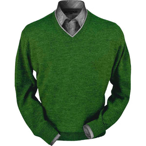 Royal Alpaca V-Neck Sweater in Leaf Heather by Peru Unlimited