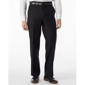 Super 120s Luxury Wool Serge Comfort-EZE Trouser in Black (Flat Front Models) by Ballin