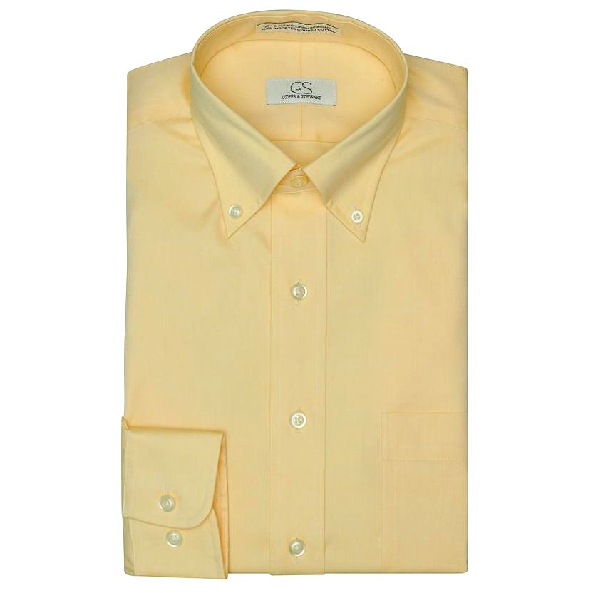 The Standard Yellow - Wrinkle-Free Pinpoint Cotton Dress Shirt with Button-Down Collar by Cooper & Stewart