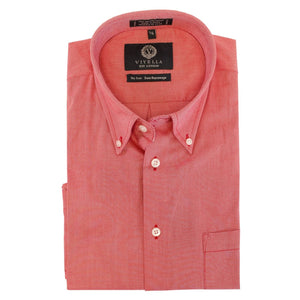 Solid Red Cotton Oxford Wrinkle-Free Button-Down Sport Shirt by Viyella