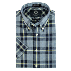 Blue, Navy, and Butter Yellow Check Cotton and Linen Short Sleeve Button-Down Shirt by Viyella