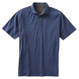 Interlock Piped Polo in Navy Mélange by Left Coast Tee