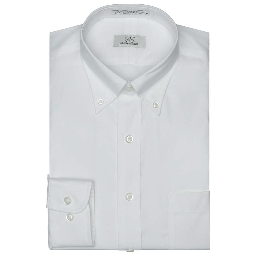 The Standard White - Wrinkle-Free Pinpoint Cotton Dress Shirt with Button-Down Collar by Cooper & Stewart