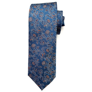 Blue, Navy, and Orange Floral Woven Silk Tie by Bruno Marchesi