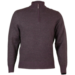 Royal Alpaca Diagonal Jacquard Half-Zip Lightweight Sweater in Wine and Charcoal Heather by Peru Unlimited