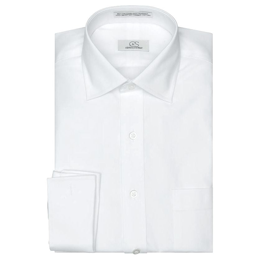 The Jean-Pierre - Wrinkle-Free Pinpoint Cotton French Cuff Dress Shirt in White by Cooper & Stewart