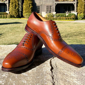 Asheville Cap Toe Lace-Up Shoe with Brogue Detailing in Cognac Brown by Armin Oehler