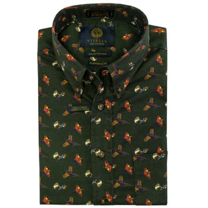 Brunswick Green Pheasant Patterned Cotton Button-Down Shirt by Viyella