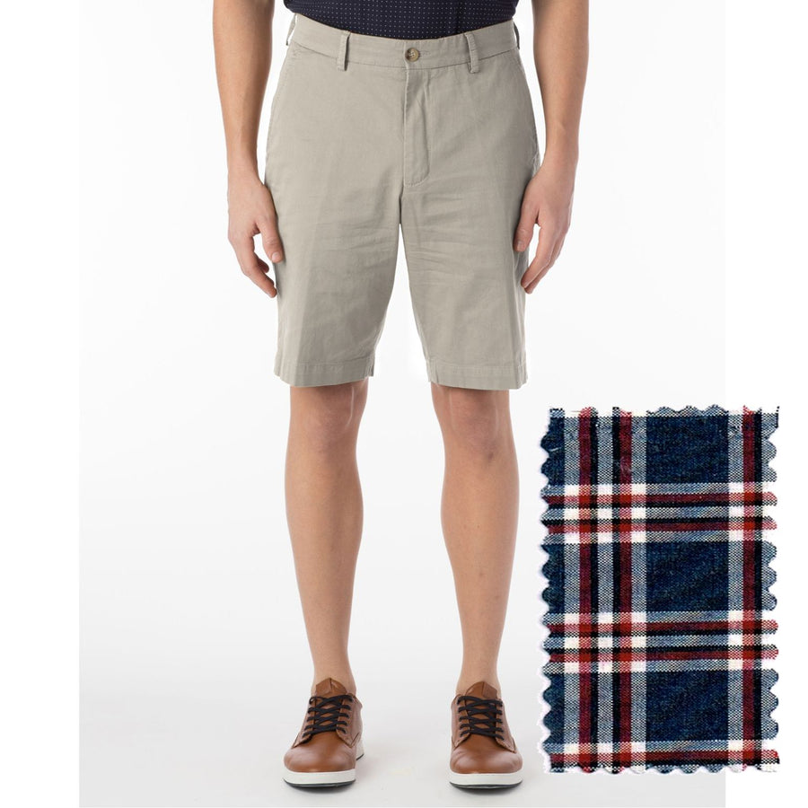 Summer Check Shorts in Navy and Red by Ballin