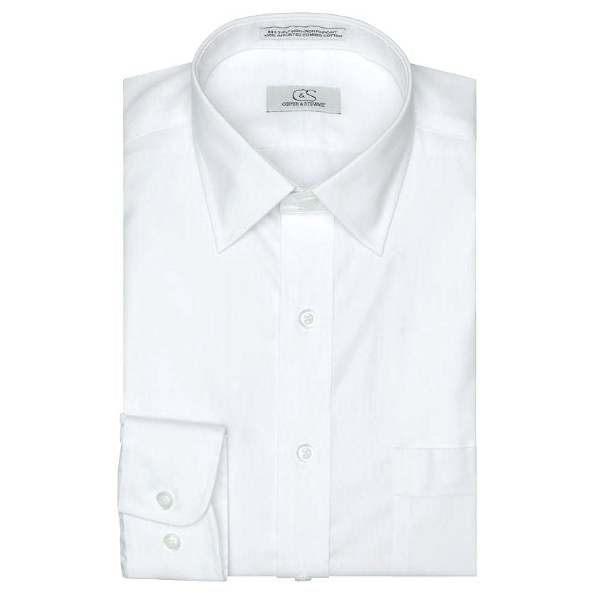 The Classic White - Wrinkle-Free Pinpoint Cotton Dress Shirt by Cooper & Stewart
