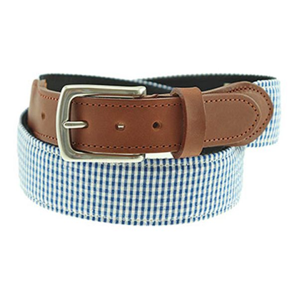 Georgetown Fabric Belt in Navy Gingham by T.B. Phelps