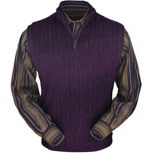 Baby Alpaca 'Links Stitch' Ribbed Zip-Neck Sweater Vest in Plum Heather by Peru Unlimited
